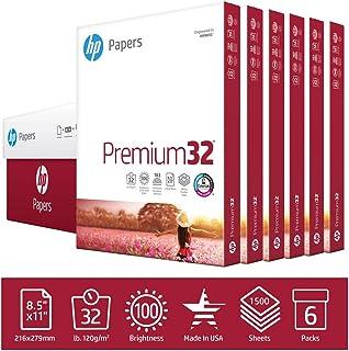 HP Printer Paper 8.5x11 Premium 32 lb 6 Pack Case 1500 Sheets 100 Bright Made in USA FSC Certified Copy Paper HP Compatible 113500C