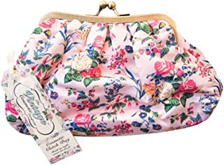 The Vintage Cosmetic Company | Cosmetic Clutch Bag | For Make-up, Tools, Toiletries | Organize/Store Feminine Care Products | Use as a Handbag/Purse | Great for Travel | Pink Floral Satin - 8 oz