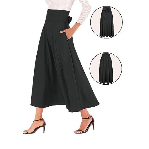 f0f8178872ee Calvin&Sally Women's Casual Flowy Dress High Waist Pleated Midi Skirt with  Pockets