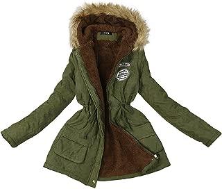 iNoDoZ Long Coat for Women Warm Fur Collar Hooded Jacket Winter Parka Outwear Thick Coats