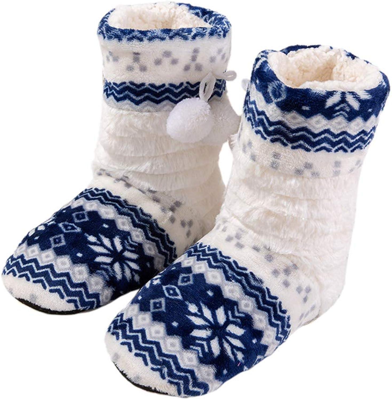Nafanio Winter shoes Home Warm Slippers Women Girls Christmas Indoor Long Socks Cotton House Booties Plush Flats