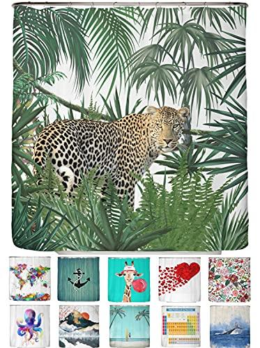 arteneur® - Dschungel Leopard - Anti-Schimmel Duschvorhang 180x200 mit Öko-Tex Standard 100 - Beschwerter Saum, Blickdicht, Wasserdicht, Waschbar, 12 Ringe und E-Book