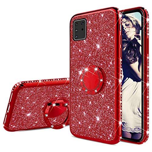 Misstars Glitzer Hülle für Galaxy A81 Rot, Bling Strass Diamant Weiche TPU Silikon Handyhülle Anti-Rutsch Kratzfest Schutzhülle mit 360 Grad Ring Ständer für Samsung Galaxy Note 10 Lite / A81