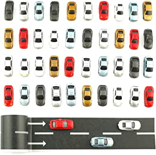 N Gauge Plastic Model Cars with Road Tapes for 1/160 Scale Building Train Layout (Pack of 40)