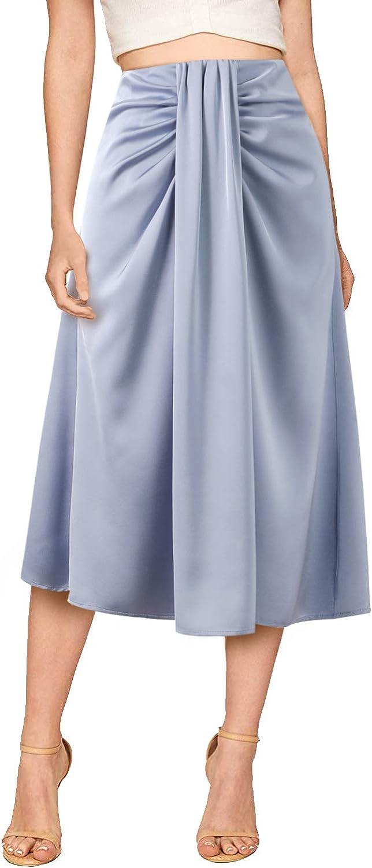 Verreisen Women's Elegant Satin A-line Midi Draped High Waist Casual Skirt for Business