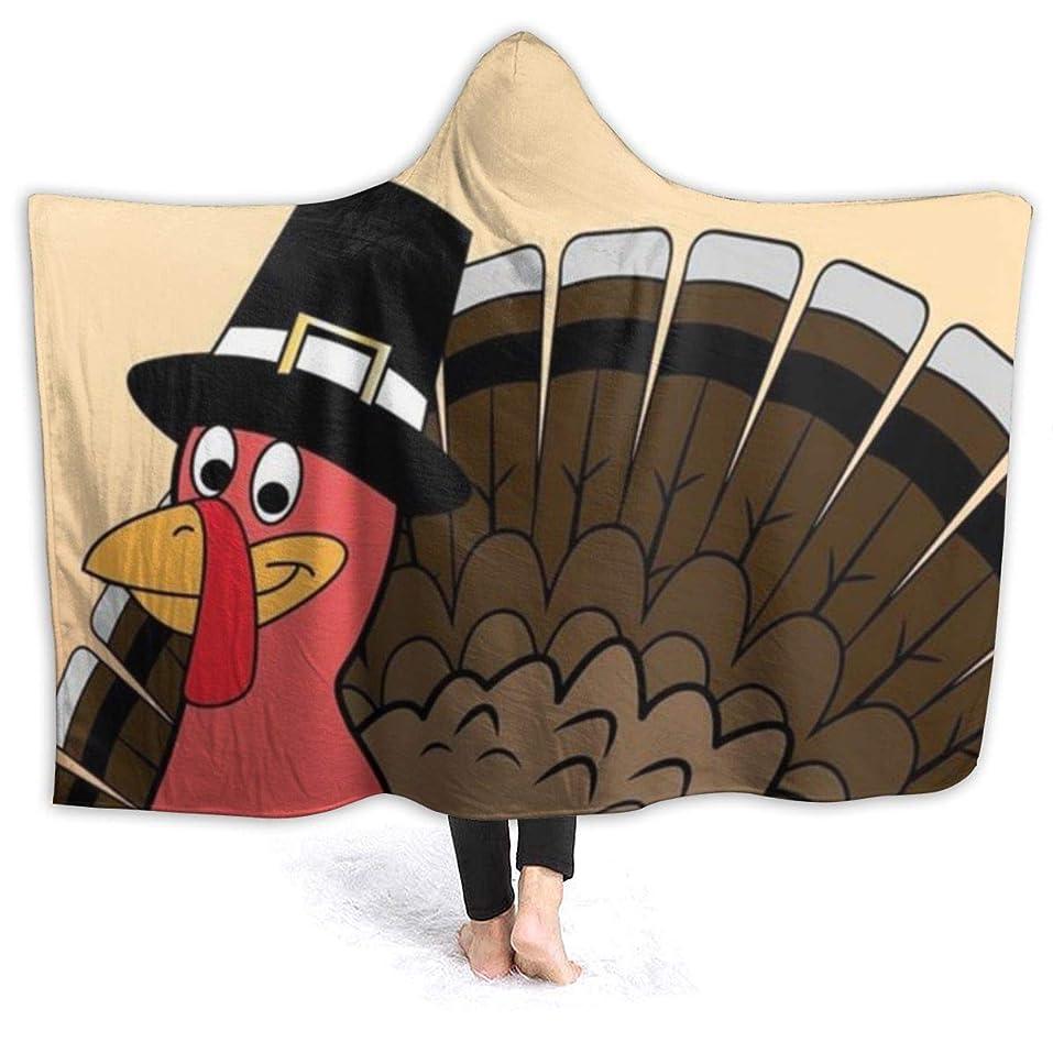 羊の濃度経験者YONHXJLAZ Happy Thanksgiving Turkey 毛布 フード付き ブランケット 大判 タオルケット厚手 オールシーズン快適 軽量 抗菌防臭 防ダニ加工 オシャレ 携帯用,車用,オフィス用