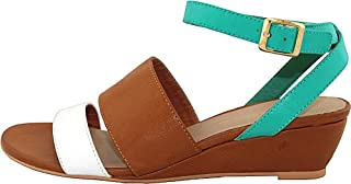 C LABEL Coco-5 White and Turquoise Wedge Sandals - 10 M