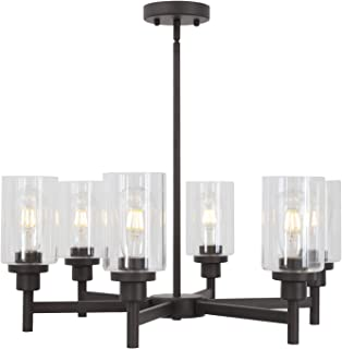 VINLUZ 6 Light Farmhouse Chandelier Classic Pendant Lighting Oil-Rubbed Bronze Industrial Ceiling Lighting Fixture with Clear Glass Shades for Dining Room Kitchen Livingroom