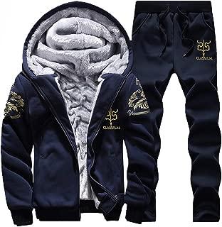 DaySeventh Mens Hoodie Winter Warm Fleece Zipper Sweater Jacket Outwear Coat Top Pants Sets