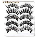 ICYCHEER 5 Pairs Mixed 3D Mink Hair False Eyelashes Full Strips Thick Cross Long Lashes Wispy Fluffy Eye Makeup Tools (055)
