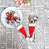 m·kvfa Tableware Bags Christmas Decorative Tableware Fork Set Christmas Hat Storage Tool Knife Set Christmas Party Decoration for Home Restaurant (5Pcs)