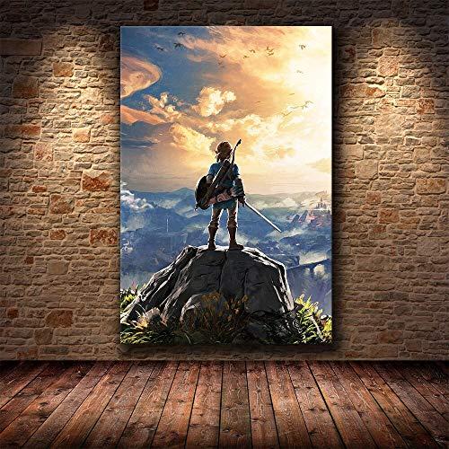 wZUN Cartel de Juego Pintura Decorativa Lienzo HD Aliento Salvaje Lienzo Pintura Arte Cartel 60x90 Sin Marco