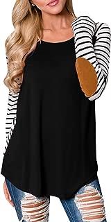 Womens Striped Raglan Shirt Elbow Patchwork Long Sleeve Casual Tunic Tops