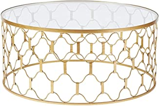 Lcxliga 90cm Round Coffee Table, Gold Stainless Steel Brushed Base, Tempered Glass Top Living Room