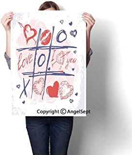 Blue Red and White Modern Canvas Painting Wall Art,XOXO Game with Lips Sketchy Circles Hearts Romantic Love Theme(16