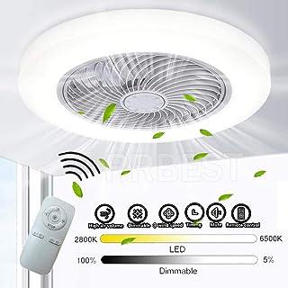RRBEST LED Ventilador De Techo con Luz Y Mando A Distancia Moderna 72W Lámpara De Techo Creativo Ventilador Invisible Regulable Decoración De Interiores Sala De Estar Plafón De Techo Fan Lluminación