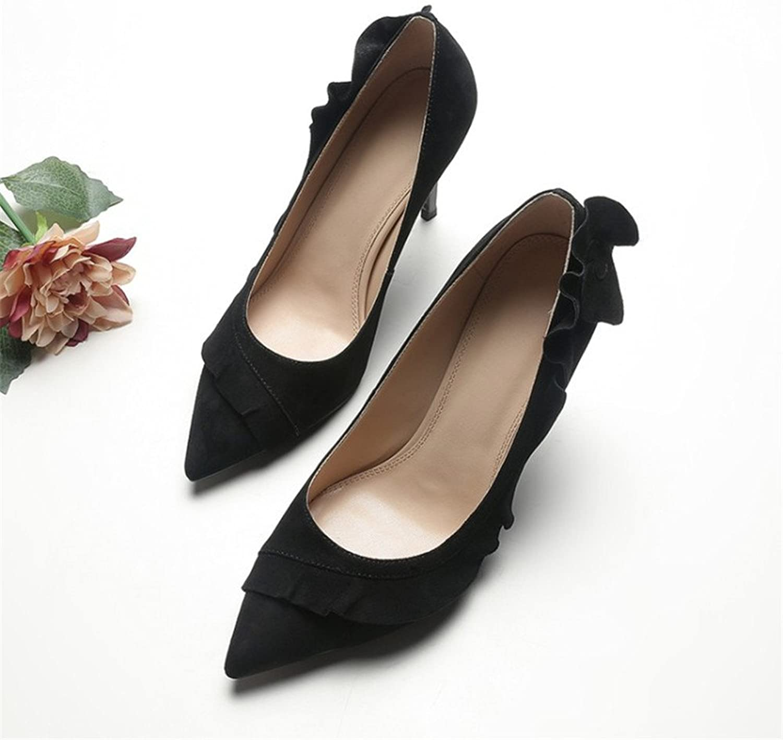 Arlene Hobbes Ladies Stiletto Falbala High Heels Genuine Leather Pointed Toe Women shoes
