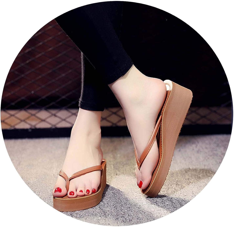 JioJio-sandal Women Beach Flip Flops 2019 Summer PlatformWoman Fashion Wedges SlippersCasual Sandals Slides SH041402,Camel,6