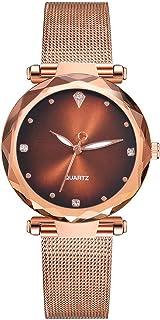 Fashion Women Men Luxury Mesh Strap Waterproof Quartz Dress Watch Rose Gold Clock Stainless Steel Wristwatches (C)
