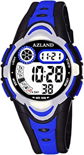AZLAND 3 Multiple Alarms Reminder Sports Kids Wristwatch Waterproof Boys Girls Digital Watches Camo