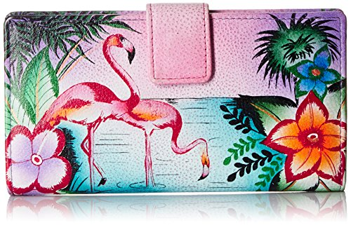 Anna by Anuschka Wallet | Hand Painted Genuine Leather | Tropical Flamingo