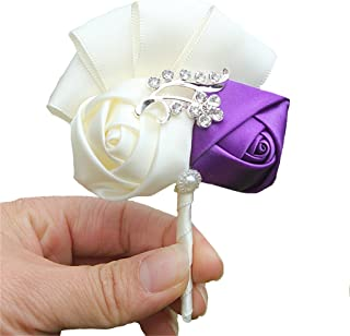 62 mm L Violet//Rose-/Émail Broche Double fleur cristal en plaqu/é or