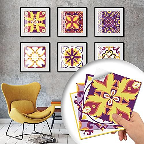 YAOUFBZ Pegatinas de azulejos de cocina impermeables y a prueba de aceite, estilo retro palacio, decoración de pared de sala de estar, autoadhesivas, para decoración del hogar