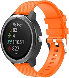 Ontube Bands Compatible with Garmin vivoactive 3 20mm, Simple Lightweight and Soft Silicone Strap for Garmin vivoactive 3 (Orange)