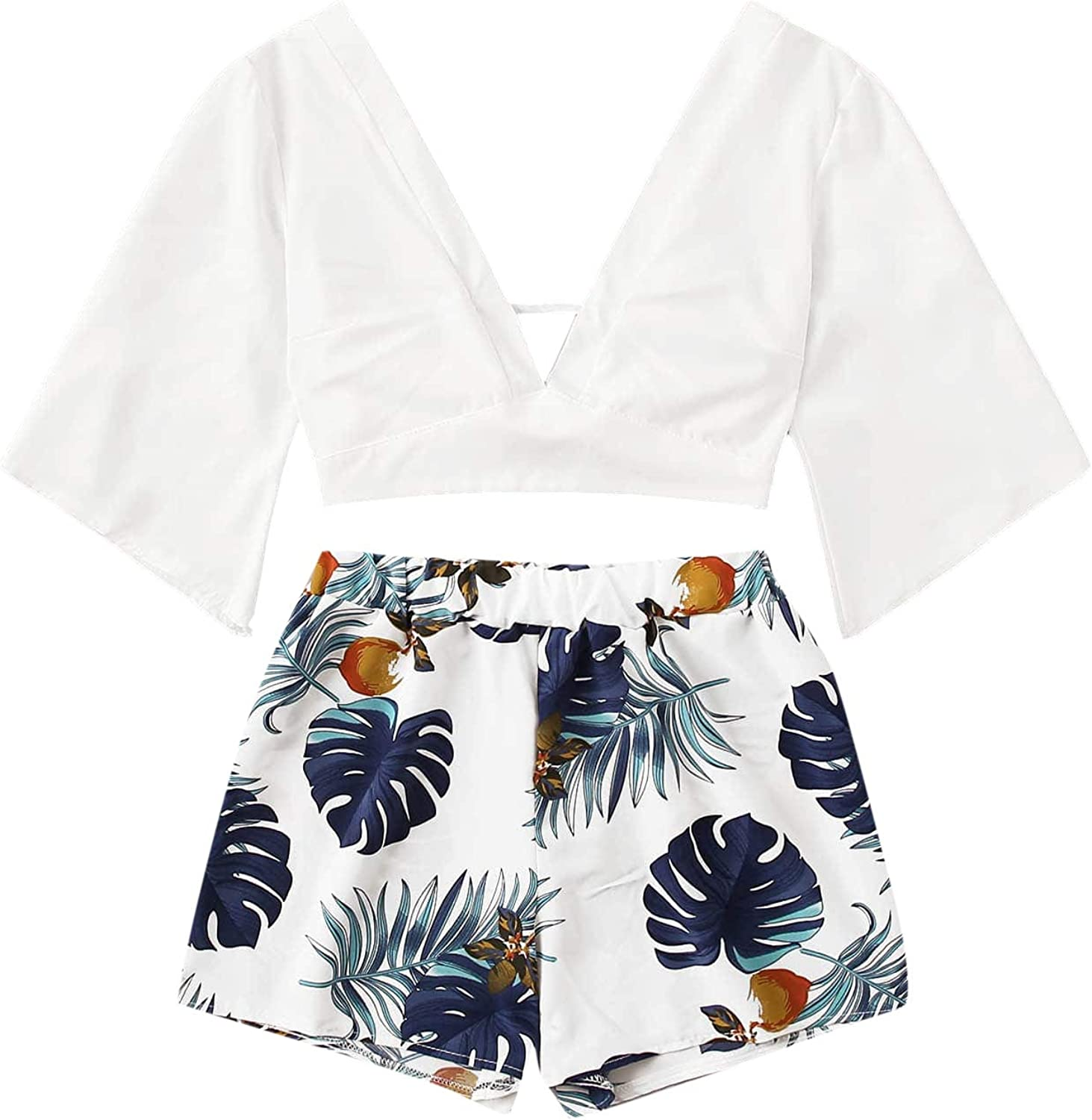 Milumia Women's Beach Two Piece Outfit Tie Back Tropical Plunging Neck Crop Top Shorts Set