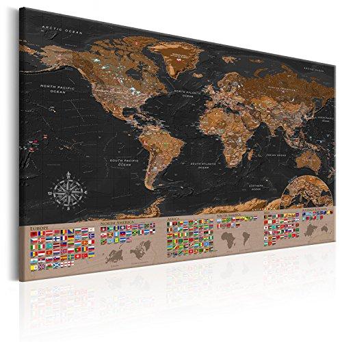 murando englische Weltkarte Pinnwand & Vlies Leinwand Bild 90x60 cm XXL Bilder mit Kork Rückwand Set mit 50 Markierfähnchen-Pinnnadeln Korktafel Kunstdruck Wandbilder Lernkarte Landkarte k-A-0205-p-a