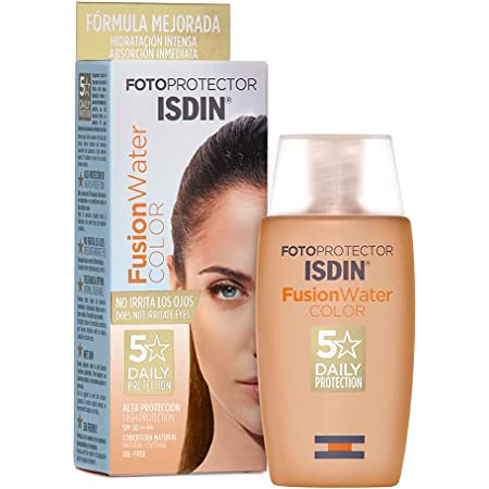 ISDIN Fotoprotector Fusion Water Color Spf 50, Protector Solar Facial de Fase Acuosa con Color Para Uso Diario, Cobertura Natural, Estándar, 50 Mililitros