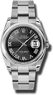 Rolex Oyster Perpetual Datejust 36mm Stainless Steel Case, Domed Bezel, Black Sunbeam Dial, Roman Numeral And Oyster Bracelet.