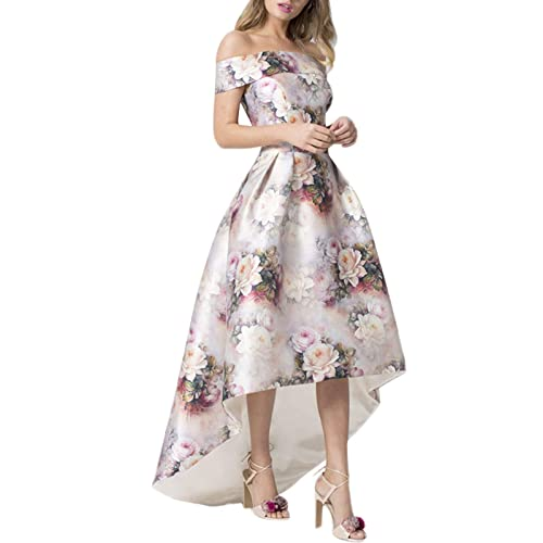 0a51421acfb GOSOPIN Women Off Shoulder Floral Print Long Prom Dress Evening Gown