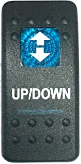Southern Marine Euro Rocker Switch Cover with Text, Black with Blue Lens. Contura II, Fits Carling, Cole Hersee, Blue seas