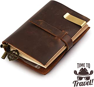 Classic Genuine Leather Notebook,Refillable Pages Leather Journal,Pocket Size,Handmade Cute Travelers Writing Small Notebook,Graduation Gifts (Brown)