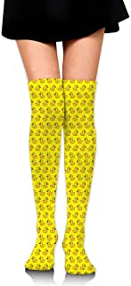 MKLOS 通気性 圧縮ソックス Breathable Knee High Leg Warmer Cute Funny Yellow Rubber Duck Exotic Psychedelic Print Compression High Tube Thigh Boot Stockings Women Girl