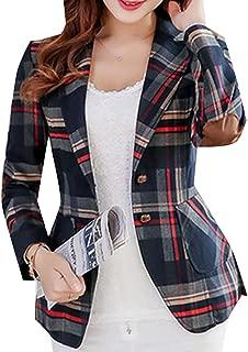 Womens Long Sleeves OL Business Plaid Formal Blazer