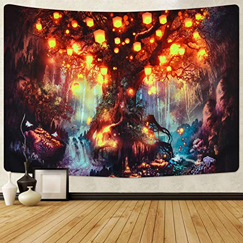 Krelymics Wandteppich Tapisserie Multicolored Fantasy Wandbehang Wandtuch für Pavillon Strandhaus Psychedelic Wandteppich mit detailliertem Druck für Picknick (L/150X210cm)