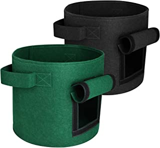 Simpeak Potato Grow Bags 2 Pack 10 Gallon, Fabric Pots Vegetable Fruit Garden Planter 35CM x 45CM (Black+Green) …