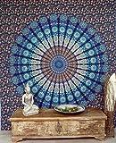 GURU SHOP Boho-Style Wandbehang, Indische Tagesdecke Mandala Druck- Blau/lila/weiß, Baumwolle, 230x210 cm, Bettüberwurf, Sofa Überwurf
