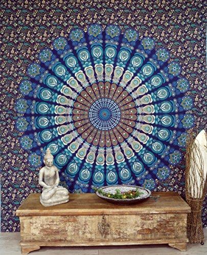 Guru-Shop Indisches Mandala Tuch, Wandtuch, Tagesdecke Mandala Druck - Blau/lila/weiß, Baumwolle, 230x210 cm, Bettüberwurf, Sofa Überwurf