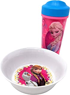 Frozen Kids Spill Proof Sippy Cup With Olaf and Anna Bowl, Use for Snack Time and Water Bottle, Plates, Disney Toddlers Cups, Elsa, Anna, Olaf, Frozen 2 Kitchen Bowls For Kids