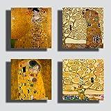 Printerland Cuadros estilo Klimt, 4 unidades, 30 x 30 cm, árbol de la vida abrazable, dorado, impresión sobre lienzo para decoración de salón, dormitorio, cocina, oficina, bar