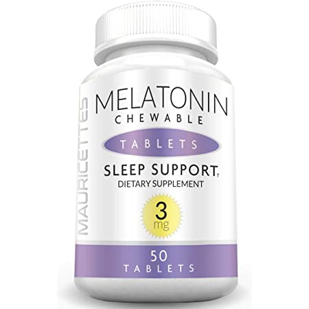 Chewable Melatonin 3mg Natural Sleep Aid Tablets for Kids and Adults - Extra Strength Sublingual 3 mg Sleeping Pills