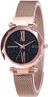 Febelle Reloj de pulsera para mujer, diseño de cielo estrellado con correa de reloj de imán, para amante
