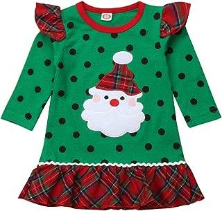 Christmas Kids Baby Girls Santa Claus Ruffle Sleeve Black Dot Print Plaid Dresses