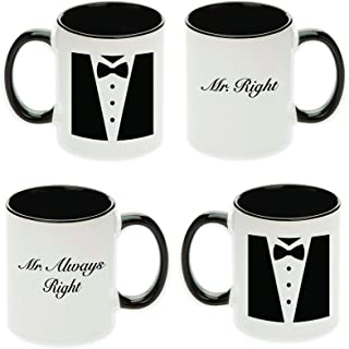 Pair of Mr. Right & Mr. Always Right Unique Tuxedo Gift Mugs for Gay Couple! (2 Mugs Per Set)