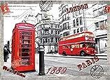 Mini Puzzles de 1000 Piezas en Miniatura DIYpara Adultos London Tour de Madera Resistente Desafío del Ejercicio Cerebral Juego de Alta dificultad Regalo para Niños 52 * 38cm
