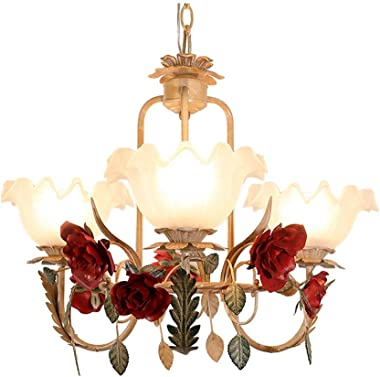 Chandelier - Dining Room Bedroom Princess Room Three Headlights, American Rustic Style Wrought Iron Flower Lamp (E27*3/LED 5W