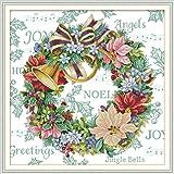 YEESAM ART Kit de punto de cruz para adultos, principiantes y niños, corona de Navidad con campana, 11 ct, 69 x 68 cm, preimpresa, kit de bordado para manualidades (Navidad)